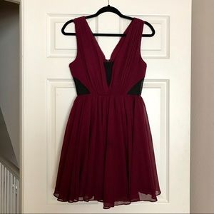 Maroon Dress with multi layer tulle skirt